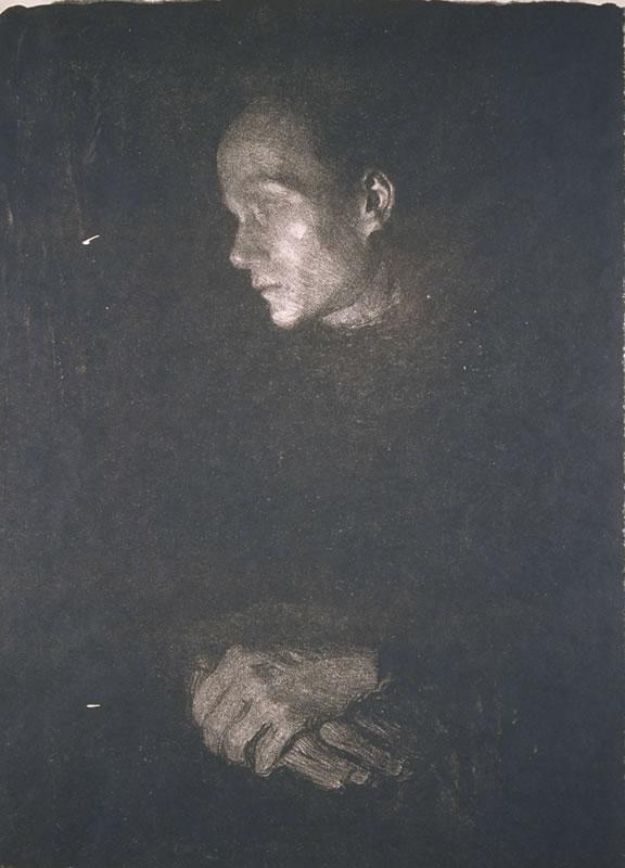 Arbeiterfrau im Profil nach links, 1903