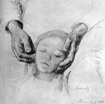 Kopf eines Kindes in den Händen der Mutter, 1900