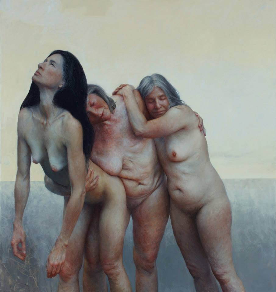 Aleah Chapin. The Three Graces (oil on canvas 76 x 74 inches)