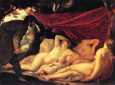 Jacques Blanchard (1600-1638) Venus y las tres gracias sorprendidas por un mortal
