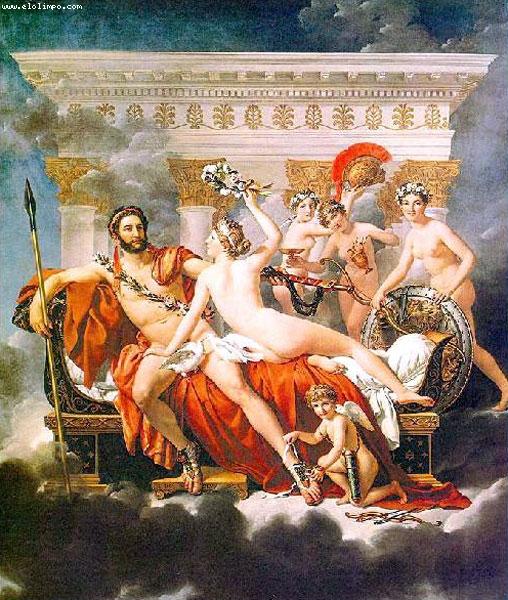 Jacques-Louis David (1748-1825) Marte desarmado por las tres Gracias