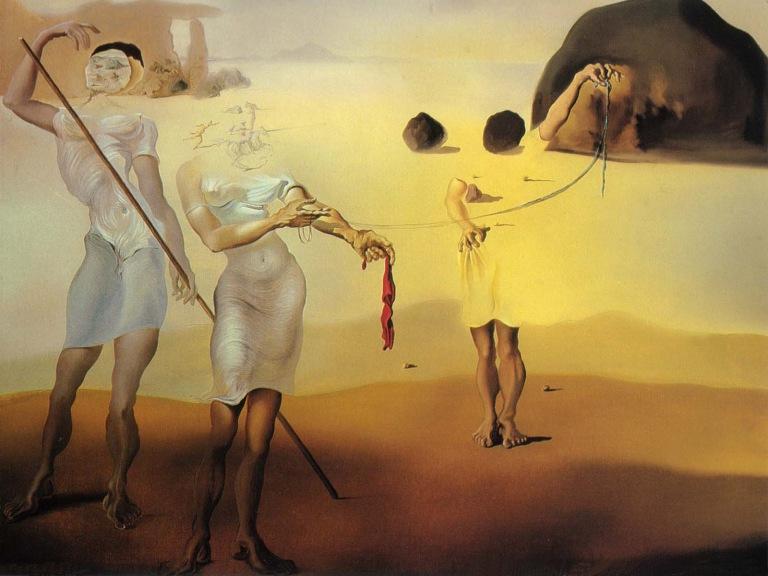 Salvador Dali (1904-1989) Playa encantada con las tres Gracias