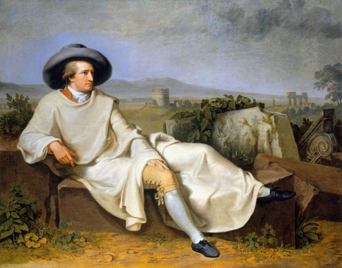 Goethe en la campiña romana (1787), por Johann Heinrich Wilhelm Tischbein. Óleo sobre lienzo, 164 x 206 cm Städelsches Kunstinstitut, Frankfurt