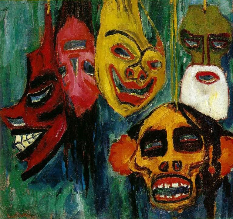 Emil Nolde (1867-1956) Máscara naturaleza muerta III (1911) 74 x 78 cm