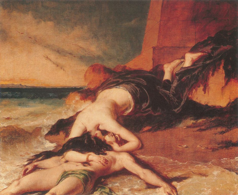 Hero, Having Thrown herself from the Tower at the Sight of Leander Drowned, Dies on his Body 1829